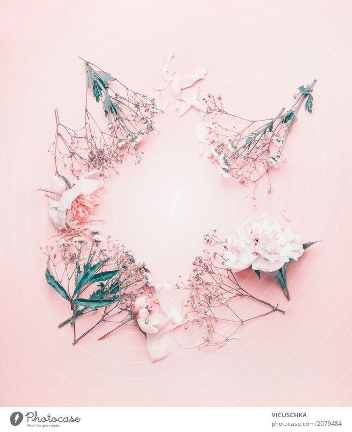 Runde Blumenrahmen mit pastell rosa Blumen Natur Pflanze Lifestyle Liebe Hintergrundbild Stil Feste & Feiern Design Dekoration & Verzierung retro Geburtstag