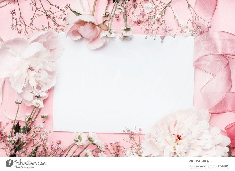 Weiße leere Karte mit Pastell Blumen und Schleife Natur Pflanze Sommer Lifestyle Liebe Hintergrundbild Stil Feste & Feiern Design rosa Dekoration & Verzierung