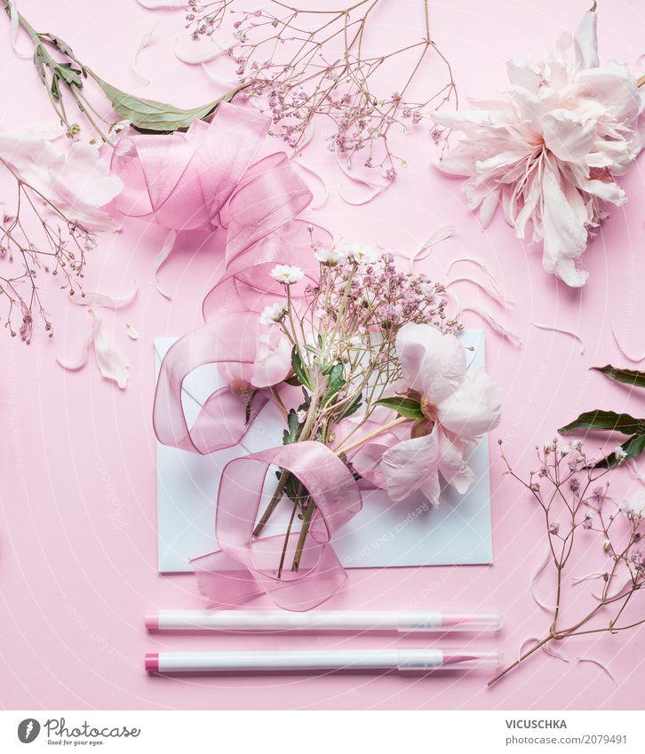 Schöne Blumen, Briefumschlag , Schleife und Markers Natur Pflanze Blatt Lifestyle Blüte Liebe Stil Feste & Feiern Design rosa Freizeit & Hobby