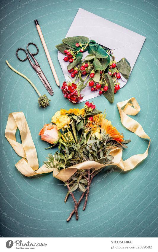 Herbst Blumenstrauß machen Lifestyle Stil Design Freizeit & Hobby Dekoration & Verzierung Natur Pflanze Blatt trendy gelb arrangiert Ladengeschäft herbstlich