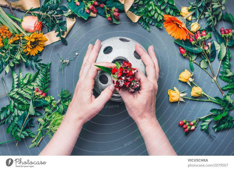 Weibliche Hände mit Vase und Blumen Lifestyle Stil Design Freizeit & Hobby Dekoration & Verzierung Tisch Studium Arbeit & Erwerbstätigkeit feminin Hand Natur