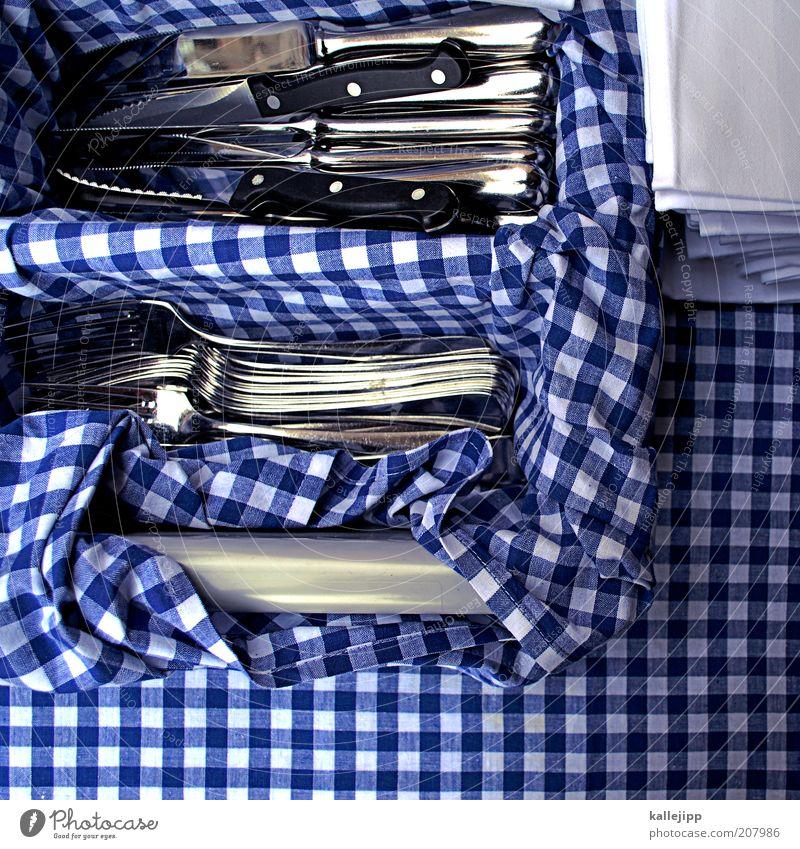 tischlein deck dich blau Stil glänzend Lifestyle Küche Häusliches Leben Gastronomie Restaurant sortieren Messer kariert Besteck Gabel Vogelperspektive Serviette
