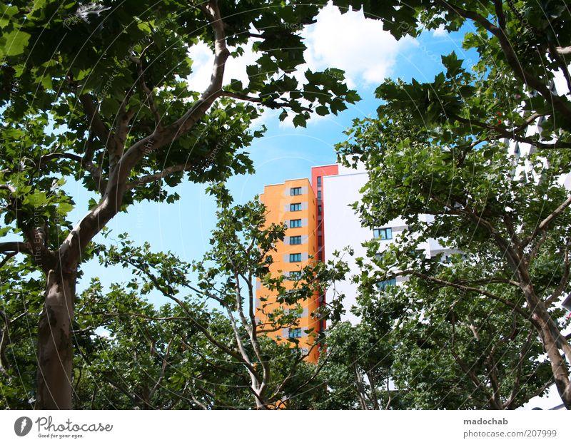 Märkisches Viertel   Schöner Wohnen Stil Häusliches Leben Umwelt Natur Landschaft Baum Haus Hochhaus Gebäude Architektur Fassade ästhetisch Farbe innovativ