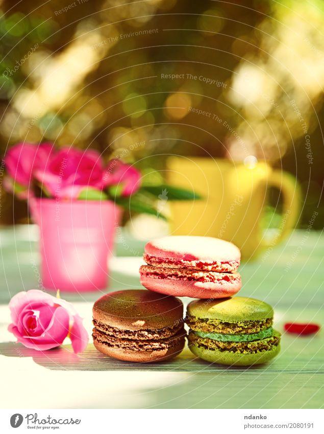 Drei bunte Mandelmakronen Dessert Süßwaren Kaffee Tasse Tisch Blume Blumenstrauß Holz Blühend Essen hell braun gelb grün rosa weiß Farbe Tradition Hintergrund