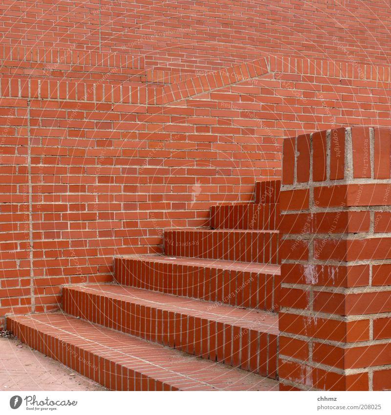 Backsteine rot Wand Stein Mauer braun Fassade Treppe Baustelle Backstein Handwerk Fußweg aufwärts Geometrie abwärts Fuge