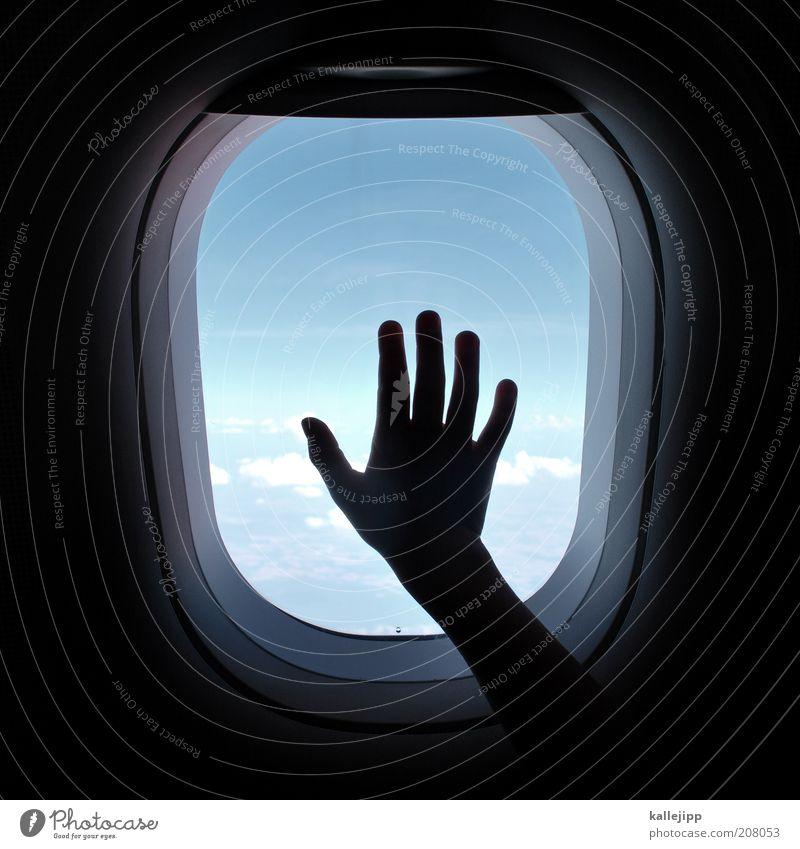 bye, bye Mensch Hand Ferien & Urlaub & Reisen Wolken Ferne Freiheit Flugzeug fliegen Verkehr Finger Trauer Luftverkehr Tourismus beobachten Sehnsucht