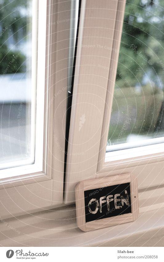 sorry, we are open! Häusliches Leben Wohnung Innenarchitektur Sonnenlicht Sommer Schönes Wetter Holz Glas Schriftzeichen Schilder & Markierungen Farbfoto