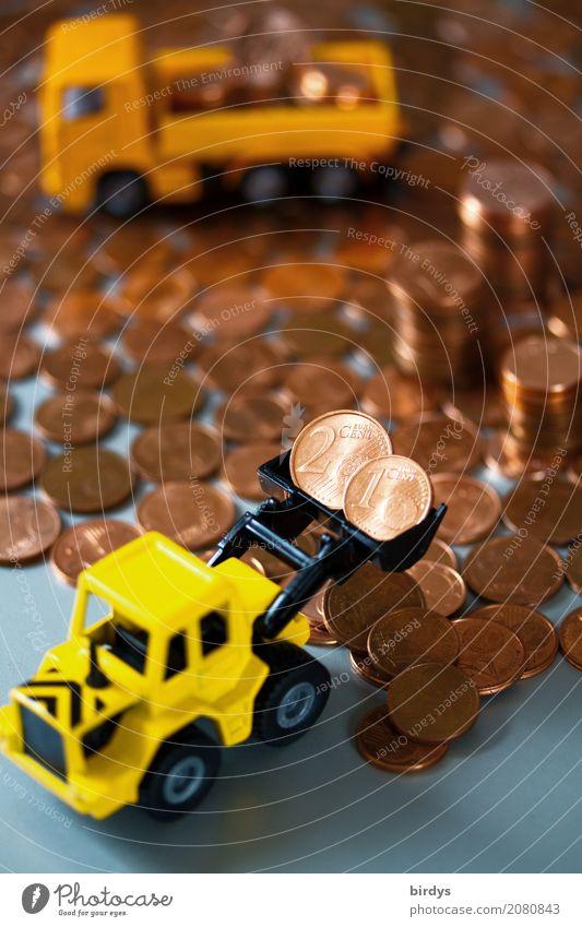 1-und 2 Centmünzen entsorgen kaufen Geld sparen Kapitalwirtschaft Lastwagen Radlader Baggerschaufel Ziffern & Zahlen Arbeit & Erwerbstätigkeit verschwenden