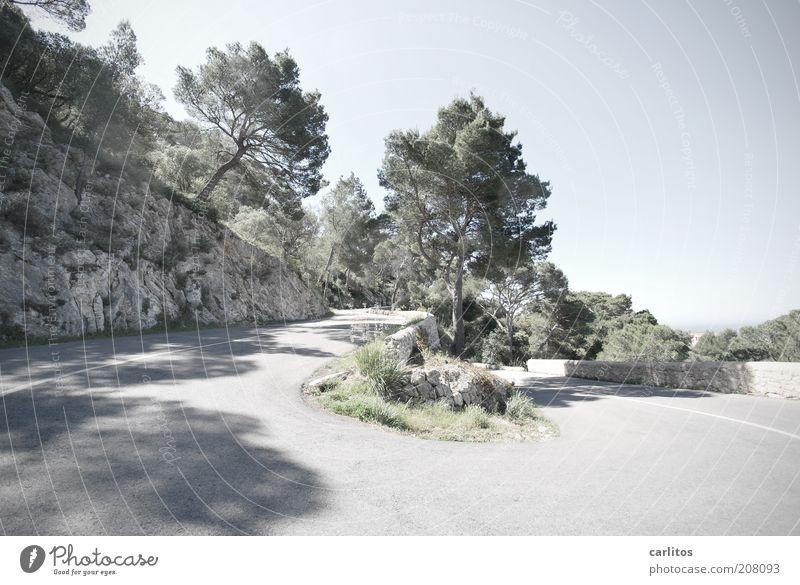 Hungriges Bild Baum blau Sommer ruhig Ferne Straße Erholung Berge u. Gebirge Mauer Wege & Pfade Wärme Umwelt Tourismus rund Asphalt heiß