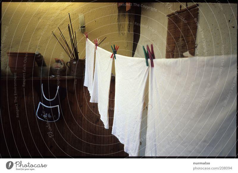 heut ist Waschtag Bekleidung hängen Duft dünn nass Stimmung Tugend Klammer Küchenhandtücher Wäscheleine trocknen Farbfoto Wäscheklammern Klammerbeutel retro