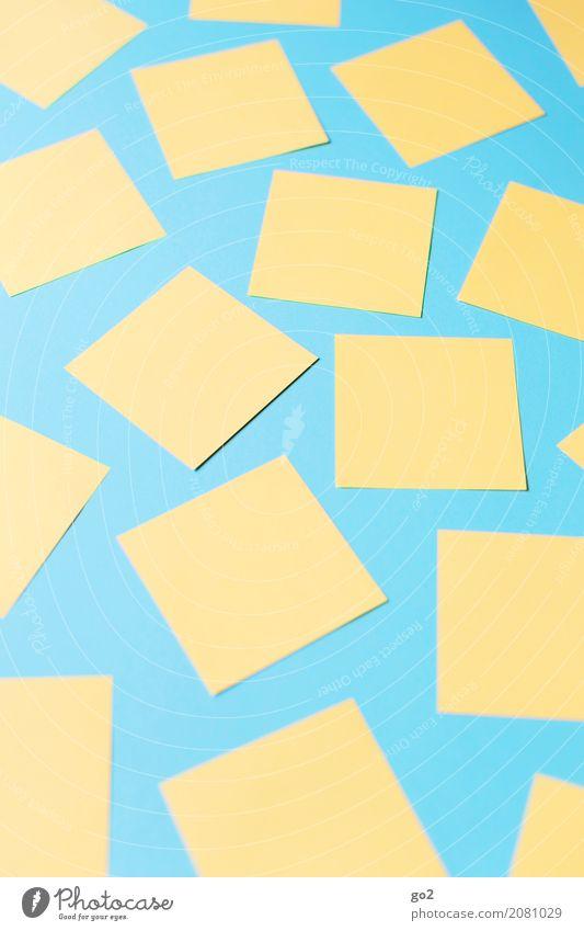 Zettel blau gelb sprechen Schule Büro Kommunizieren Beginn lernen Idee Papier Studium planen Team viele Sitzung Inspiration