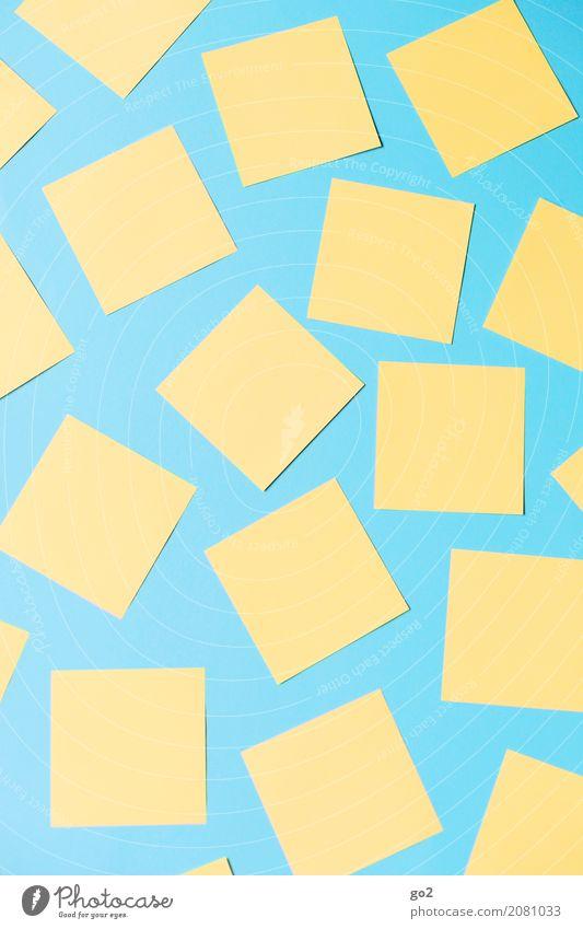 Zettelwirtschaft blau gelb sprechen Schule Büro Ordnung Kommunizieren Kreativität Beginn lernen Idee Papier Studium planen Ziel Team