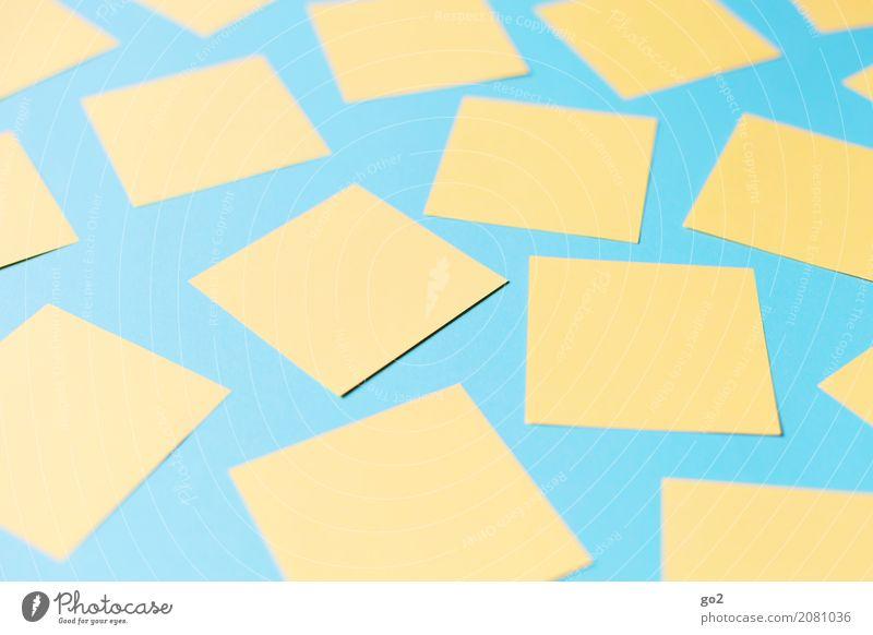Planungssache blau gelb Schule Büro Ordnung Kommunizieren Kreativität Beginn lernen Idee Papier Studium planen Ziel Team viele