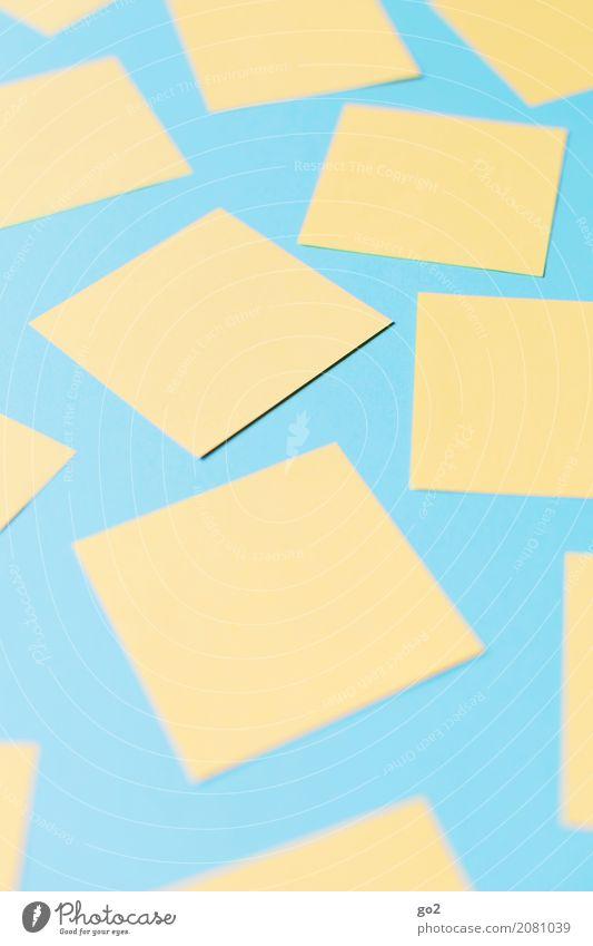 Verzettelt blau gelb sprechen Schule Büro Ordnung Kommunizieren lernen Idee Papier Studium Team viele Sitzung Werbebranche Inspiration
