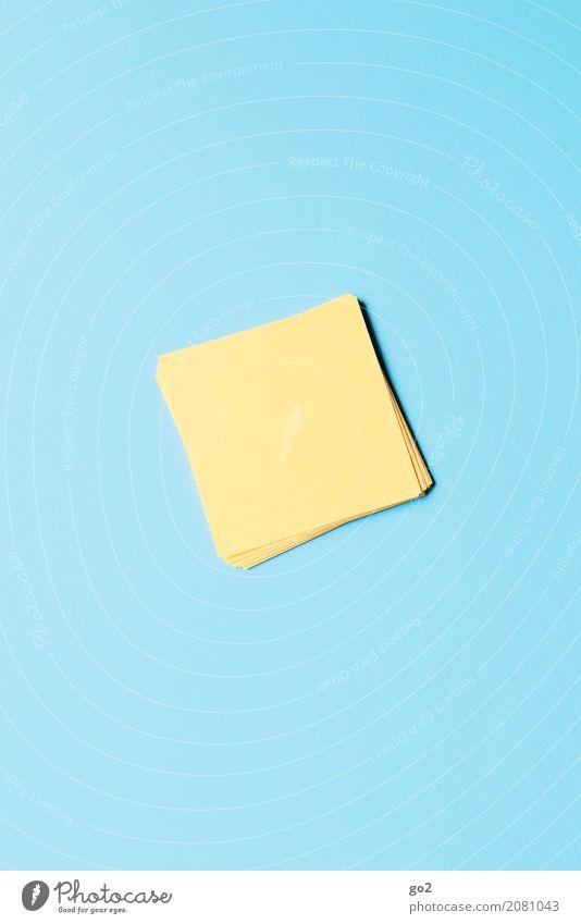 Gelbe Zettel blau gelb sprechen Schule Büro ästhetisch Ordnung Kommunizieren Kreativität Beginn lernen Idee Papier einfach Studium planen
