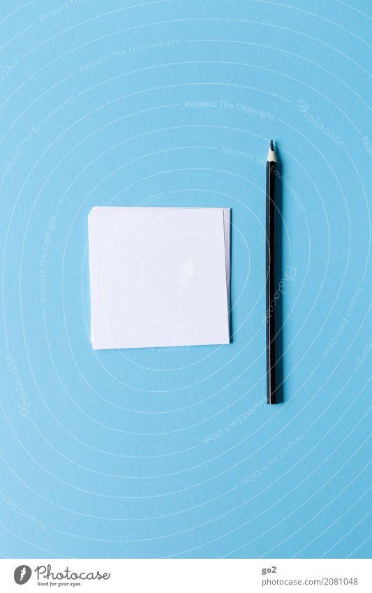 Und nun? blau weiß sprechen Kunst Schule Büro Ordnung Kommunizieren Kreativität Erfolg Beginn leer lernen Idee Papier einfach