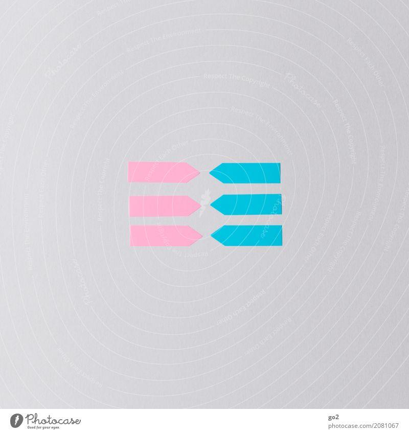 Girls and Boys Sitzung sprechen Team Papier Zettel Zeichen Schilder & Markierungen Pfeil Klischee blau rosa Sympathie Zusammensein Liebe Verliebtheit Begierde