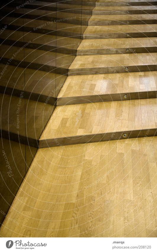 Steigendes Niveau Wand Linie glänzend Wohnung elegant Lifestyle Treppe Sauberkeit Häusliches Leben Streifen Innenarchitektur aufwärts aufsteigen flach Holzfußboden