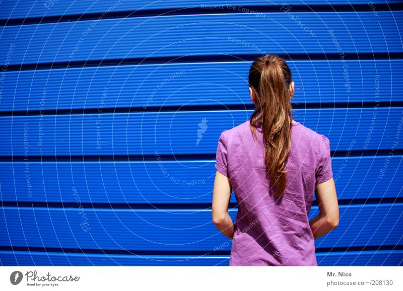 bluebox ll Jugendliche blau Einsamkeit feminin Wand Haare & Frisuren Kopf Mauer Linie Architektur Arme Rücken Fassade T-Shirt stehen violett