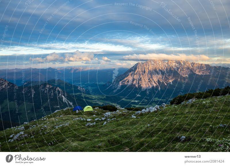 Biwak am Berg, Salzkammergut, Österreich Natur Ferien & Urlaub & Reisen blau grün Landschaft Berge u. Gebirge Freiheit Tourismus braun Stimmung Wohnung Horizont