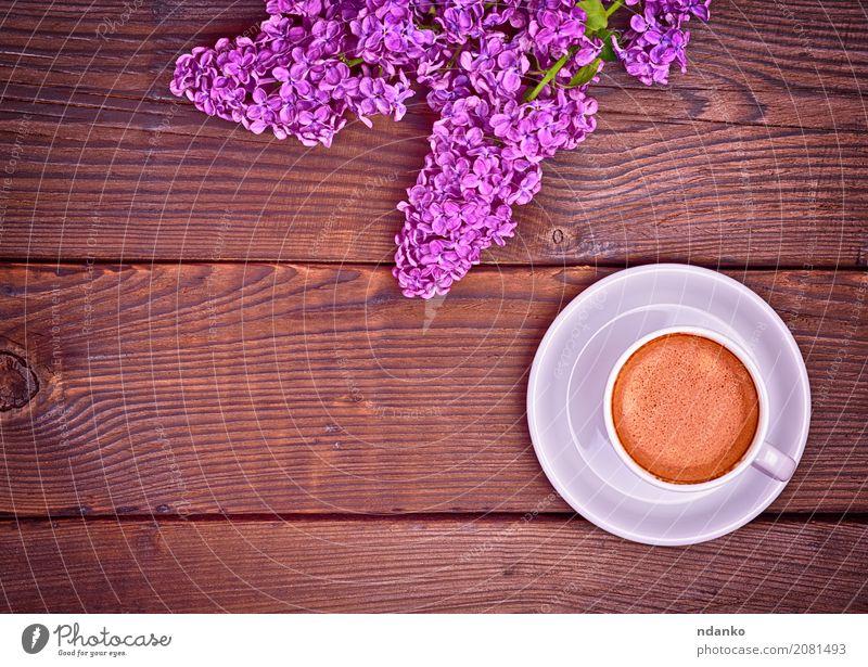 Tasse Espresso Kaffee Frühstück Getränk Teller Becher Tisch Restaurant Natur Blume Blumenstrauß Holz frisch heiß oben retro braun weiß Café Fliederbusch purpur