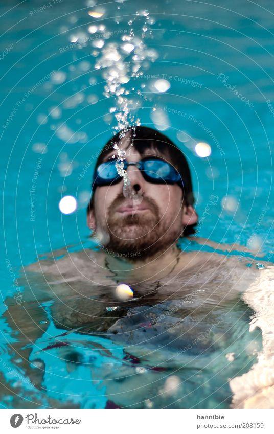 spitting image Mensch Mann blau Sommer Kopf Erwachsene maskulin Wassertropfen nass Schwimmbad Freizeit & Hobby Schwimmen & Baden Bart Porträt