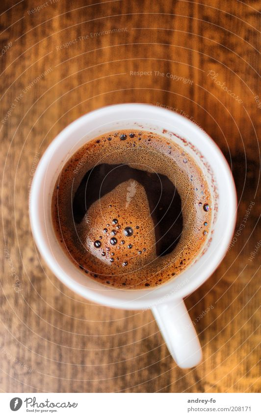 Kaffeetasse Tasse Holz heiß lecker braun weiß Kaffeebecher Becher Espresso rund frisch Heißgetränk Schaum Kaffeeschaum Nahaufnahme Schaumblase Ernährung
