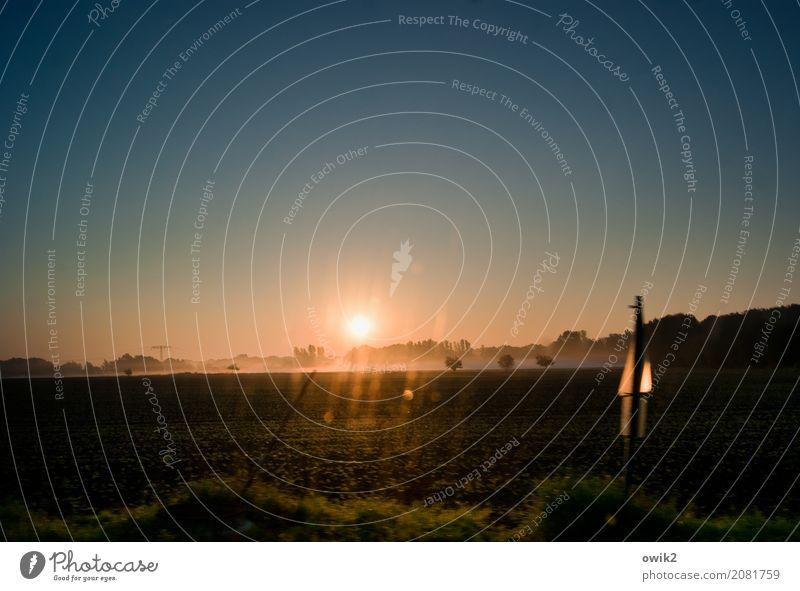 Del Sol Umwelt Natur Landschaft Wolkenloser Himmel Horizont Schönes Wetter Baum Feld Verkehrsschild Bewegung fahren unterwegs Schliere Streifen Morgendämmerung