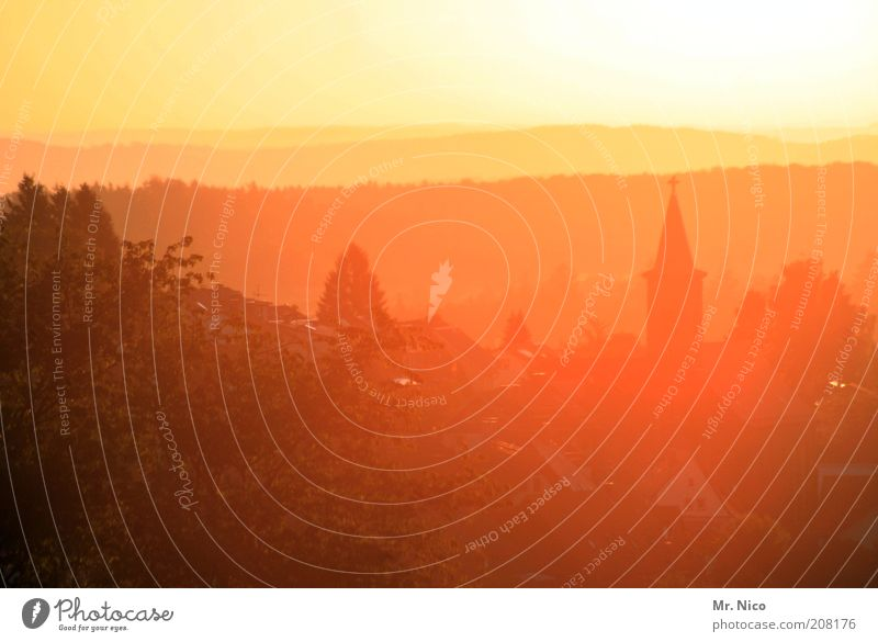 gudde Morge ! Himmel Natur Ferien & Urlaub & Reisen Pflanze gelb Umwelt Landschaft Herbst Horizont Deutschland gold Klima Tourismus Kirche Hügel Schönes Wetter
