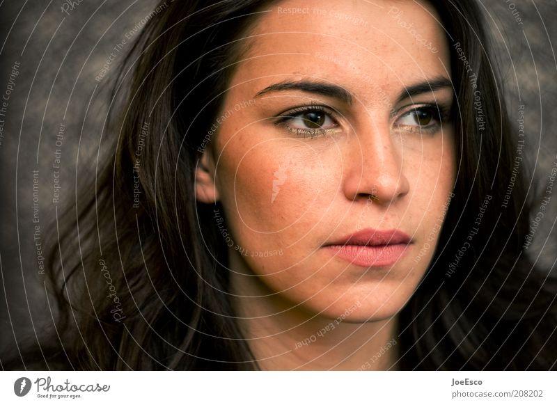 abgewandt Frau Mensch schön Gesicht Auge Leben Gefühle Stil träumen Kopf Denken Kraft Erwachsene beobachten einzigartig natürlich