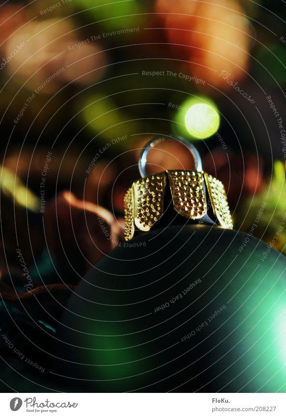 Es weihnachtet (bald) sehr gold grün Weihnachten & Advent Weihnachtsdekoration Dekoration & Verzierung Christbaumkugel Kugel rund Unschärfe Beleuchtung