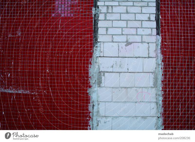Pixelfehler alt weiß Stadt rot Wand Mauer Architektur Fassade trist kaputt einzigartig Fliesen u. Kacheln trashig chaotisch