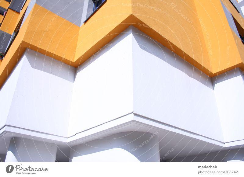 Menschenwaben weiß Farbe Wand Architektur Stil Gebäude Mauer orange elegant Wohnung Fassade Ordnung Design modern Hochhaus groß
