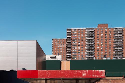harlem Himmel Stadt Haus Architektur Wand Gebäude Mauer Fassade Hochhaus USA Schönes Wetter Wolkenloser Himmel Städtereise New York City