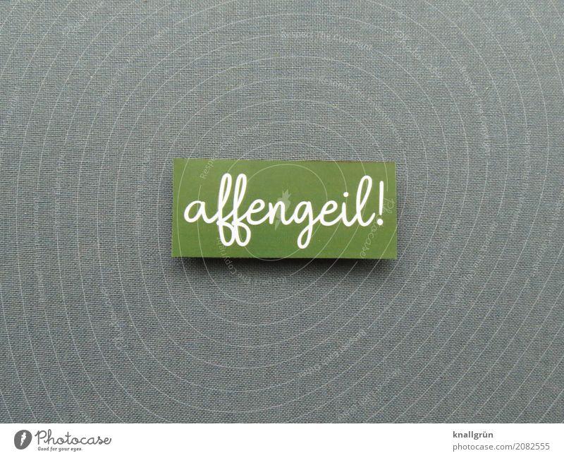 affengeil! Schriftzeichen Schilder & Markierungen Kommunizieren Coolness grau grün weiß Gefühle Stimmung Freude Begeisterung Umgangssprache Farbfoto