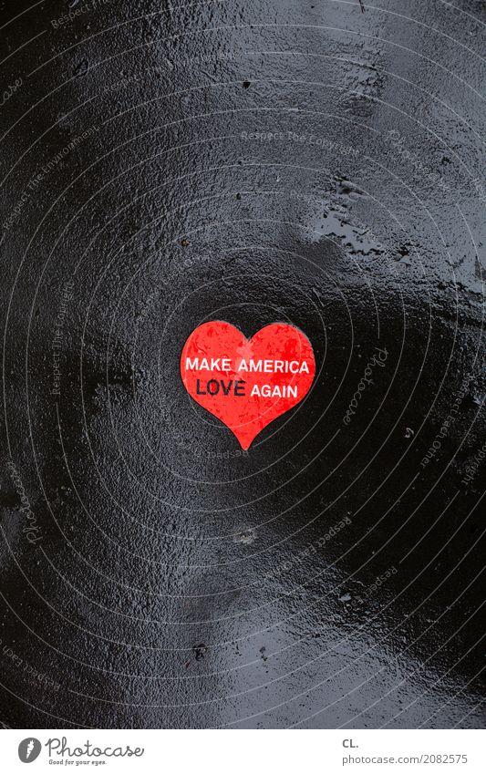 make america love again schlechtes Wetter Regen New York City USA Straße Etikett Boden Zeichen Schriftzeichen Herz nass rot Liebe friedlich Menschlichkeit