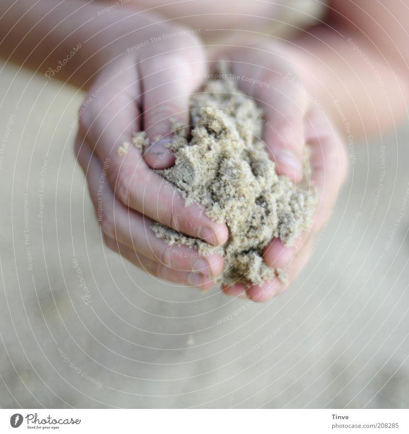 Wie Sand am Meer... Natur Hand Ferien & Urlaub & Reisen Spielen Sand Finger festhalten zart feucht zeigen körnig Sandkorn umschließen