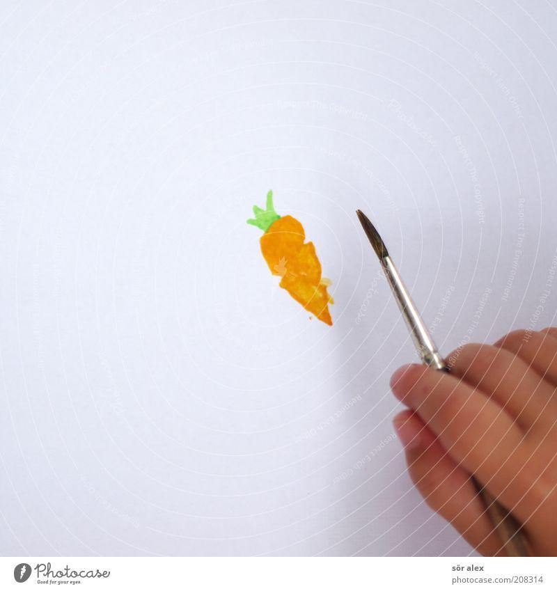 Rüebli Lebensmittel Gemüse Ernährung Essen Bioprodukte Vegetarische Ernährung Möhre Pinsel Papier Wasserfarbe Pinselstiel schön grün weiß Farbe Gelassenheit