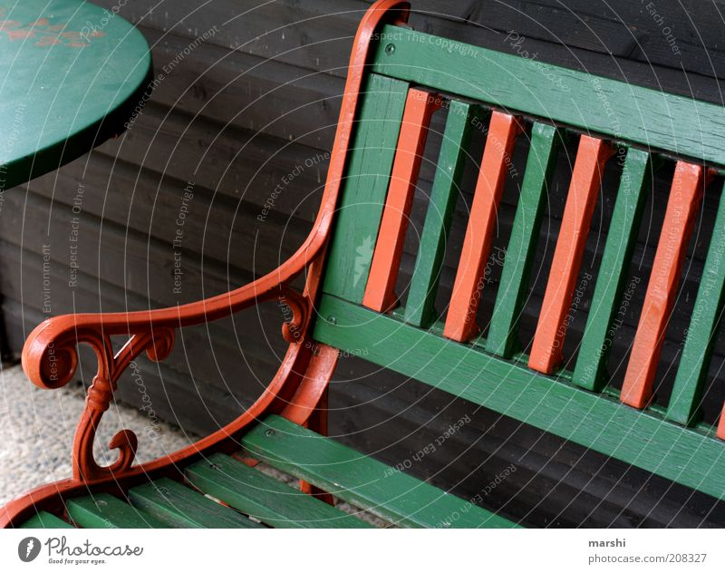 nimm Platz! grün Senior Erholung Holz orange Tisch Bank Streifen Möbel Sitzgelegenheit Anschnitt