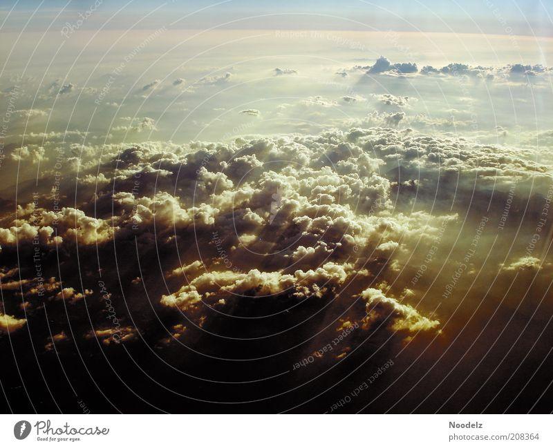Heavens Door Landschaft Luft Himmel nur Himmel Wolken Sonnenaufgang Sonnenuntergang Sonnenlicht Sommer Wetter Schönes Wetter Nebel Wärme beobachten Bewegung