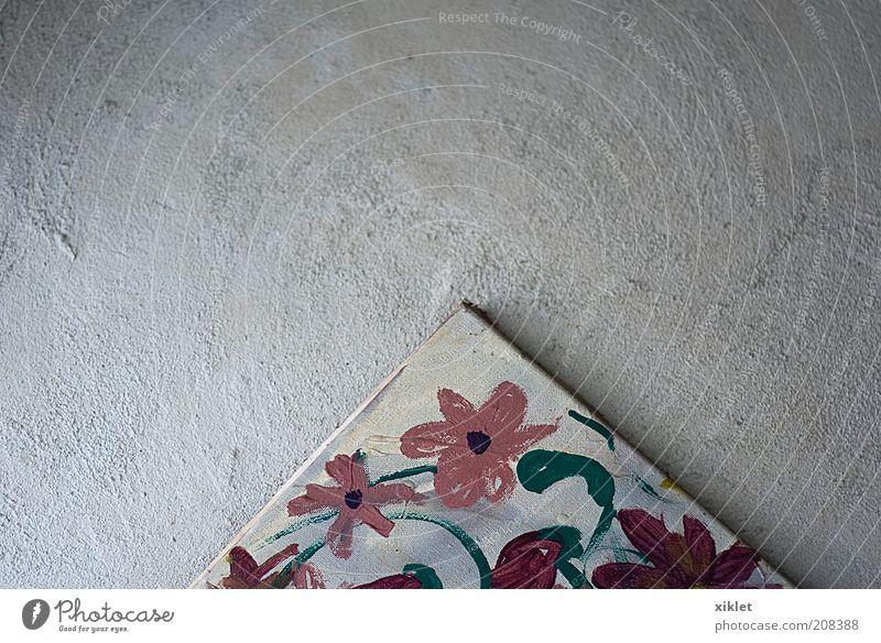 Malerei Blume Farbe grell rot blau Zement Wand historisch rustikal alt rosa geheimnisvoll Schatz Reliquien Eckstoß Landschaft Garten Dekoration & Verzierung