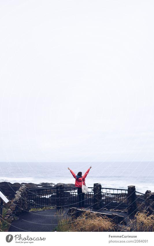 Roadtrip West Coast USA (81) feminin Junge Frau Jugendliche Erwachsene Mensch 18-30 Jahre 30-45 Jahre Abenteuer Aussicht Plattform Arme Freude Glück Freiheit