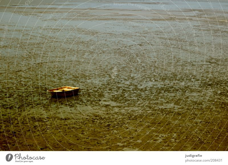 Watt Natur ruhig Einsamkeit Ferne dunkel Traurigkeit Landschaft Stimmung braun Küste Umwelt trocken Nordsee stagnierend Ruderboot Bootsfahrt
