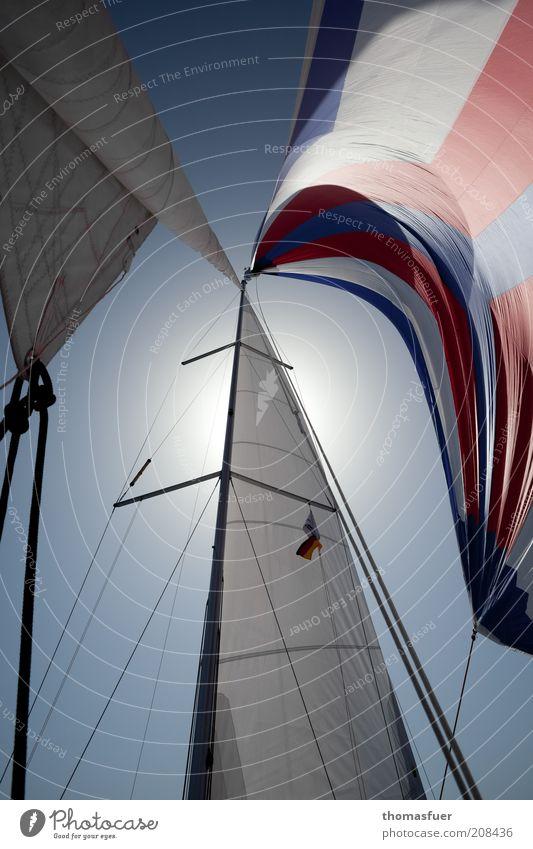 fly with the wind blau Sommer Sonne rot Ferne Freiheit ästhetisch Schönes Wetter Abenteuer Schifffahrt Sommerurlaub Segeln Blauer Himmel Segelboot Segel Jacht