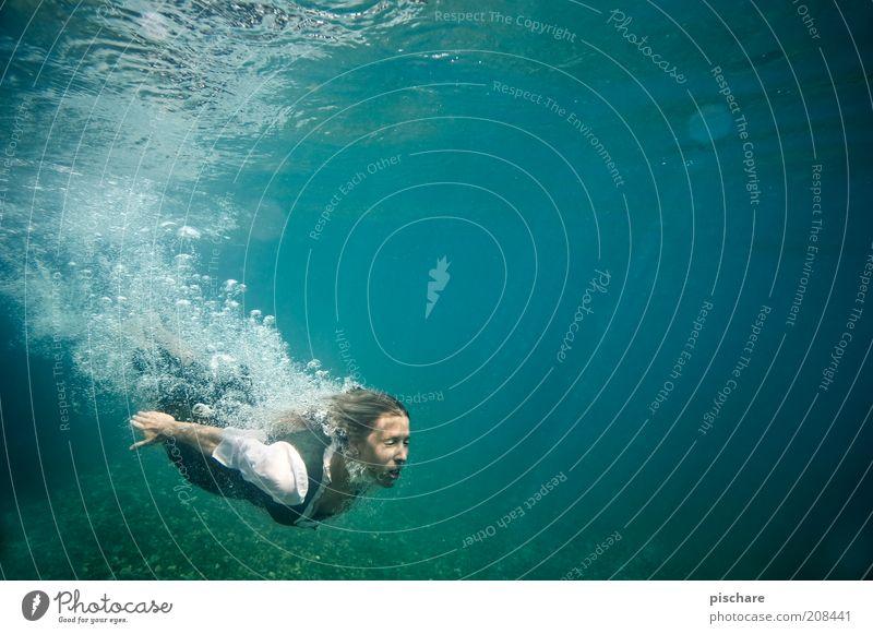 °°OOoo Lifestyle exotisch schön feminin Junge Frau Jugendliche 1 Mensch 18-30 Jahre Erwachsene Wasser See blond tauchen ästhetisch blau Gefühle Freude