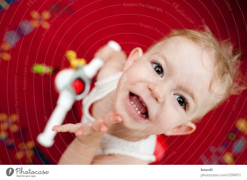 dÜsn Spielen Kind Mädchen Kopf Gesicht 1-3 Jahre Kleinkind Spielzeug Lächeln lachen Blick frech Fröhlichkeit lustig rot Stimmung Freude Lebensfreude
