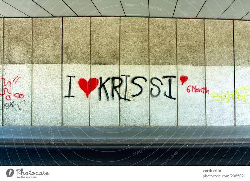 I <3 KRISSI <3 6 Month Freude Liebe Graffiti Glück Herz Beton Schriftzeichen Brücke einzigartig Bauwerk Information Typographie Verliebtheit Sympathie Schmiererei