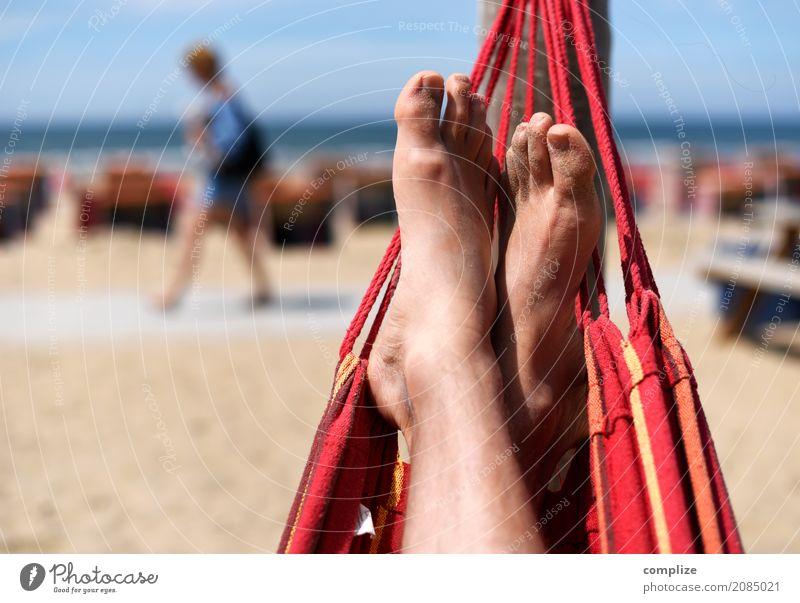 Hängematte am Strand Ferien & Urlaub & Reisen Mann Sommer Sonne Meer Erholung ruhig Erwachsene Küste Glück Freiheit Freizeit & Hobby Wohlgefühl Sommerurlaub