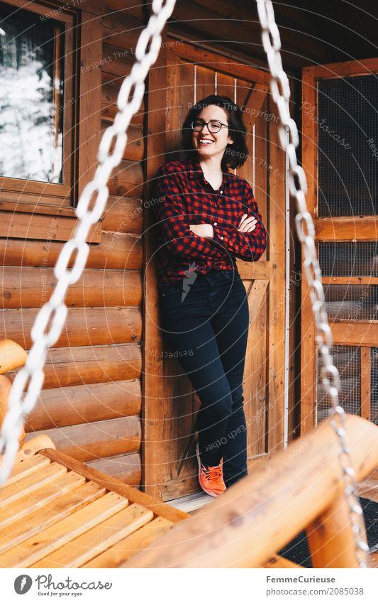 Roadtrip West Coast USA (51) feminin Junge Frau Jugendliche Erwachsene Mensch 18-30 Jahre 30-45 Jahre Abenteuer Holzhütte Tourist Ferien & Urlaub & Reisen