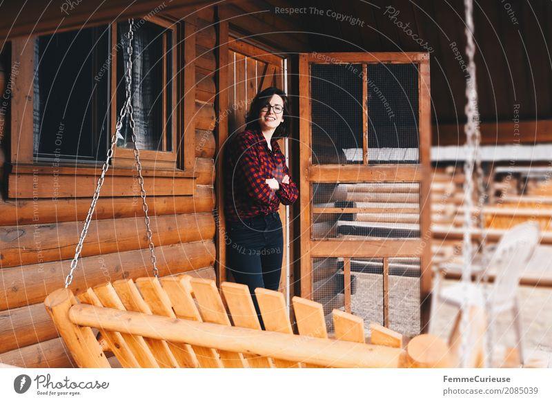 Roadtrip West Coast USA (49) feminin Junge Frau Jugendliche Erwachsene 1 Mensch 18-30 Jahre 30-45 Jahre Abenteuer Holzhütte Campingplatz